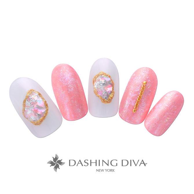 艶やかなピンクとシェルシートアートのネイル|ネイルデザイン