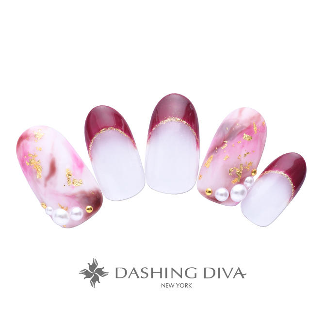 ピンクの大理石と秋色ボルドーのフレンチネイル|ネイルデザイン